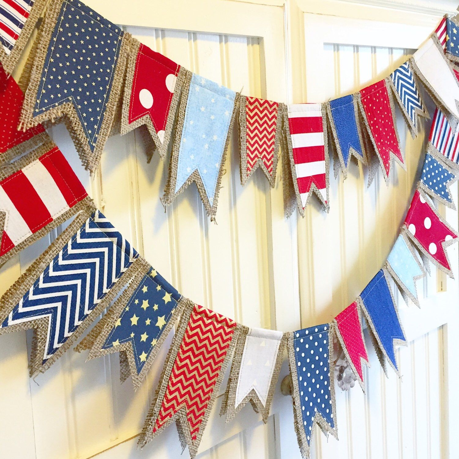 4th Of July Burlap Banner 4th Of July 4th Of July Decorations July Crafts