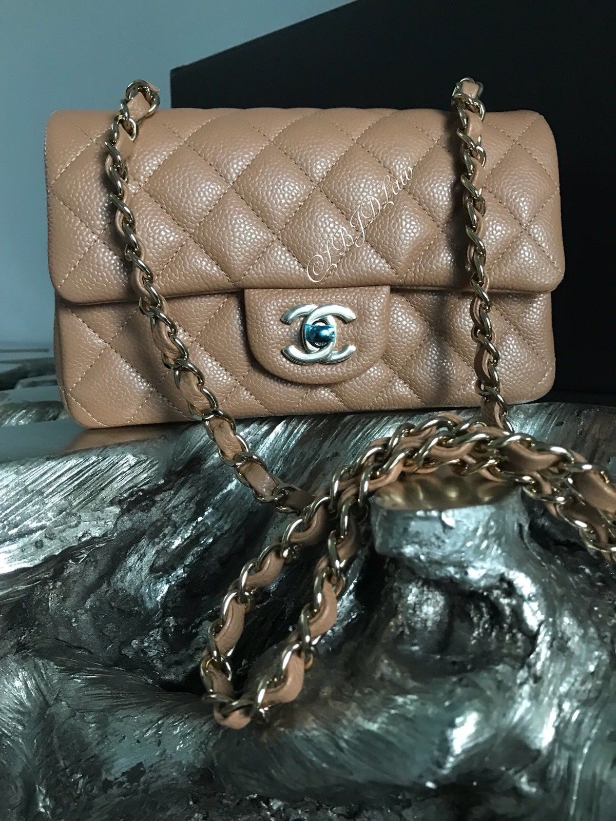 d7e21d38 CHANEL 18S Beige Pearly Caviar Mini Rectangle Classic Flap Gold Tan ...