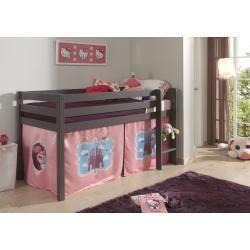 Halbhohes Bett Pino – Castle – taupefarbenes Kiefernholz – mit Leiter und Textilgarnitur – 90×200 cm RollerRo   – Products