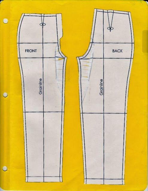 Patroon van broek aanpassen. | Broekpatroon, Naaitechnieken