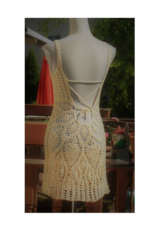 Sale : Crochet Beach Dress /  Open back  / Beachwear / Cover up / One Of A Kind / Rasberry red/ Size S - M / Ready to ship #crochetbeachdress