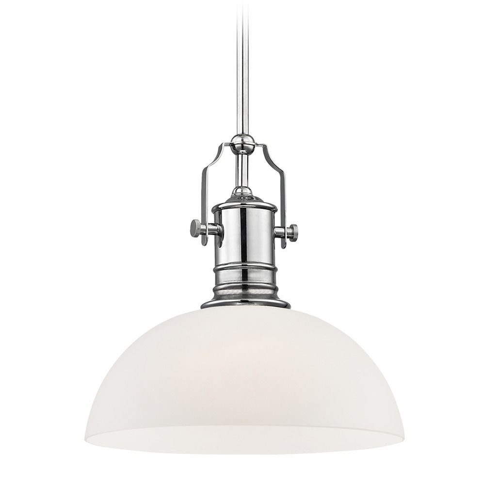 Industrial chrome pendant light with white glass inch wide high