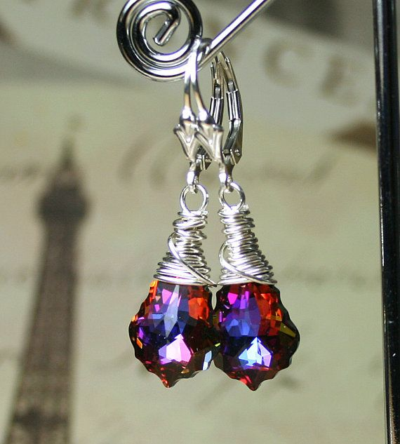 Swarovski Crystal Volcano Earrings in 11mm   Swarovski