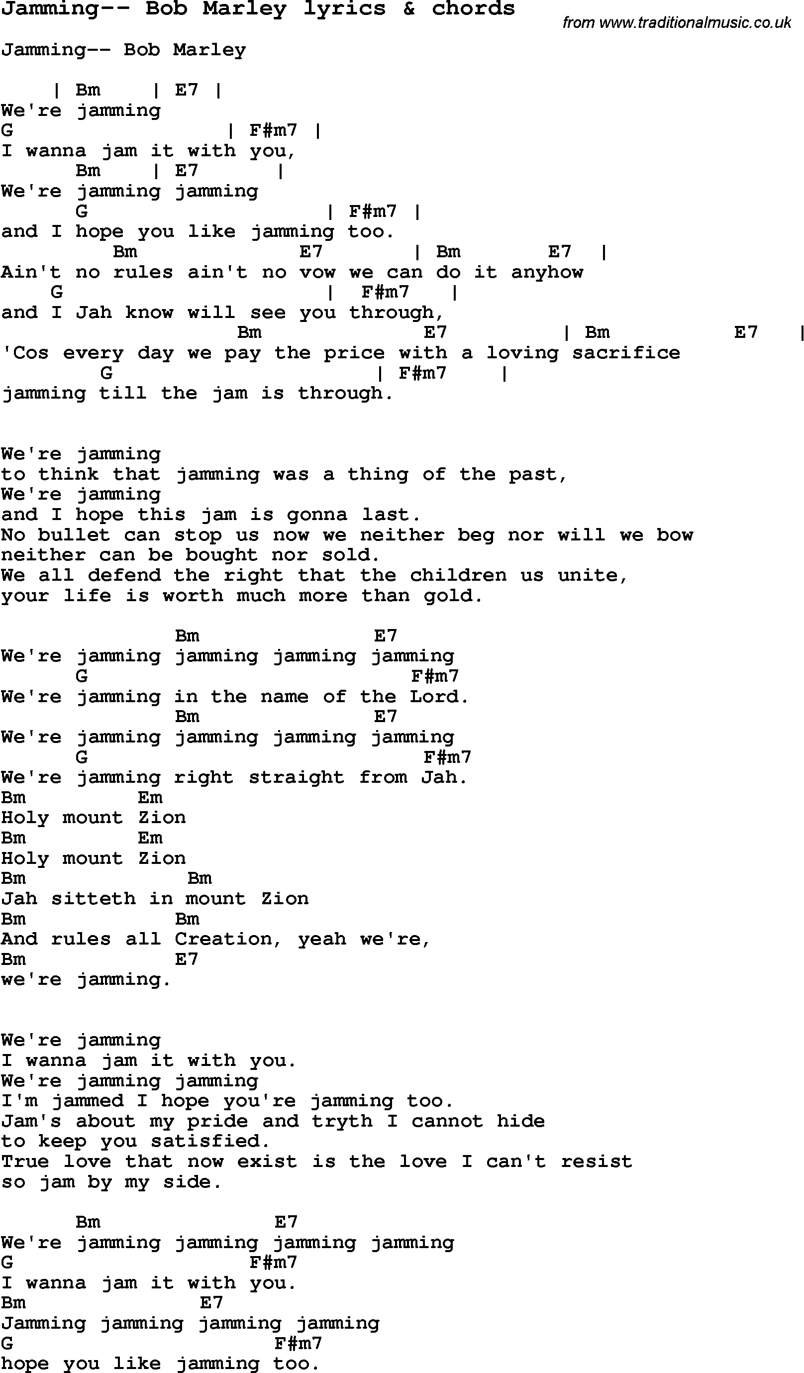 Love Song Lyrics For Jamming Bob Marley With Chords For Ukulele Guitar Banjo Etc Lyrics And Chords Bob Marley Lyrics Guitar Chords For Songs