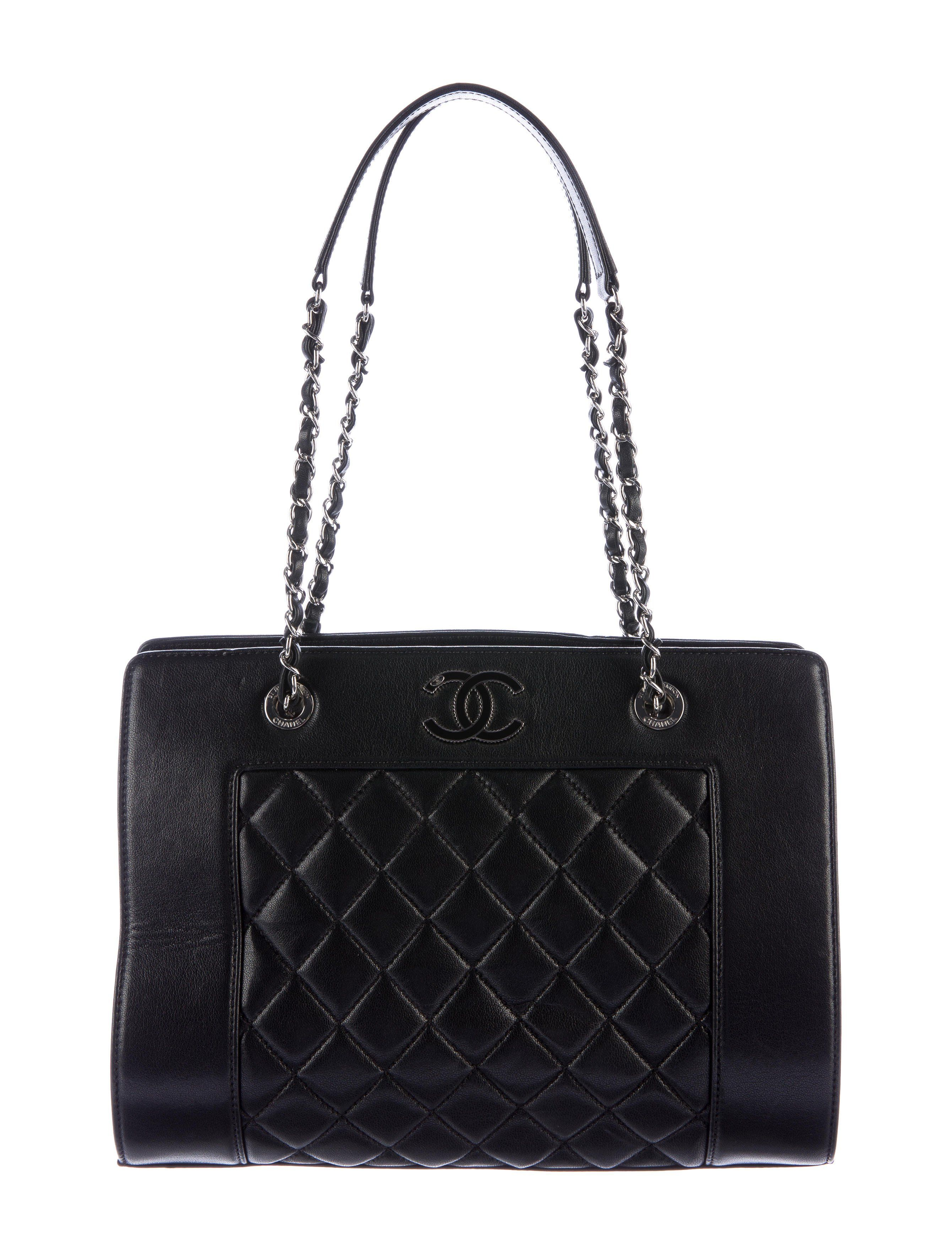3591ab6295624f Black quilted sheepskin leather Chanel Mademoiselle Vintage Large Tote with  silver