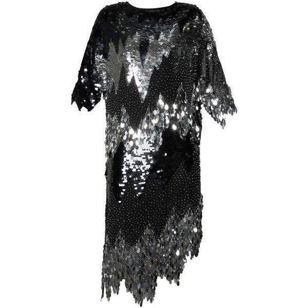 Preowned Flapper-inspired Vintage Metallic Silk Beaded + Sequin... ($395) ❤ liked on Polyvore featuring dresses, multiple, vintage cocktail dress, vintage style flapper dresses, vintage flapper dress, beaded flapper dress and beaded dress