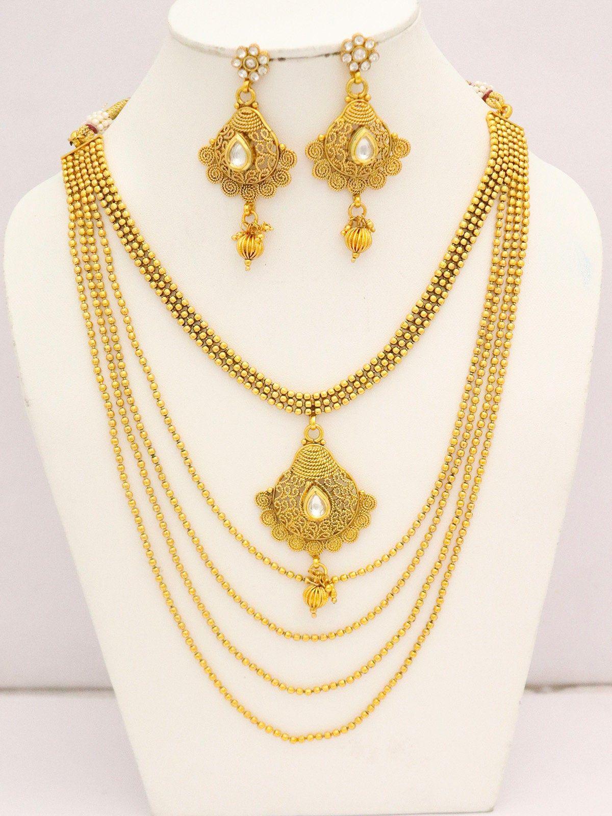 Traditional Bollywood Kundan Bridal Wedding Stone NECKLACE Earrings Set