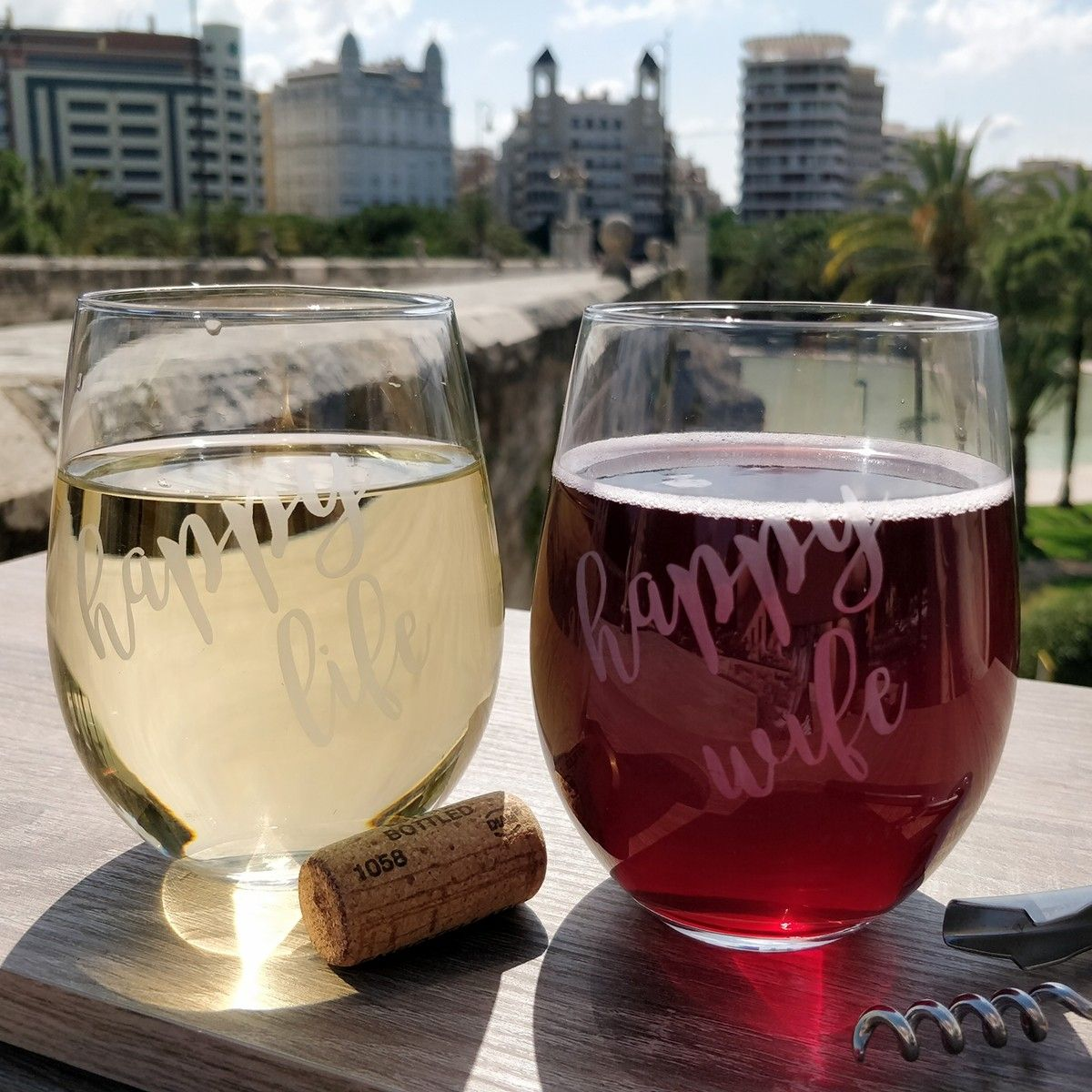Funny happy wife happy life wine glasses his and hers
