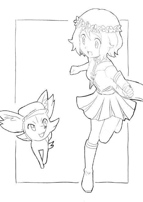 Serena And Fennekin Pokemon Coloring