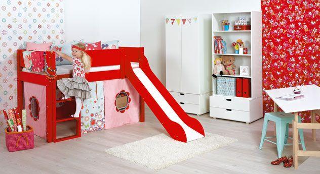 Etagenbett Kinder Rutsche : Flexa hochbett mit rutsche und rahmen aus kiefer massivholz