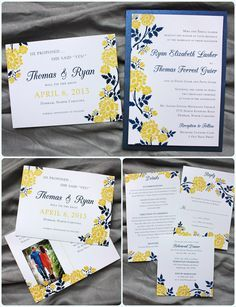Golden Yellow Navy Blue Spring Flower Clutch Pocket Wedding Invitations And Photo Save The