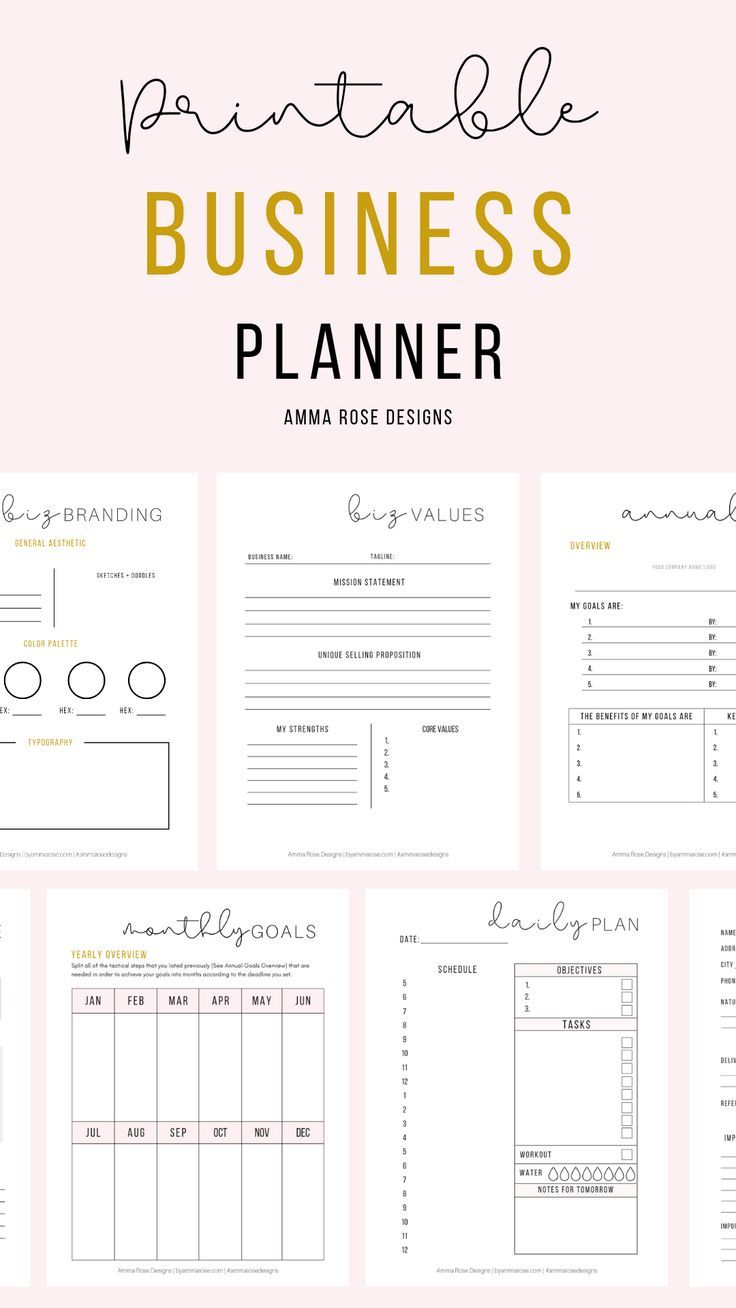 Small Business Planner Small Business Printable