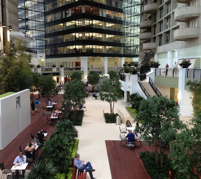 Atrium redo at downtown dallas 39 plaza of the americas is - American gardens west 7th fort worth ...