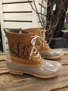 3536f9a9f69c6 Gray Monogrammed Duck Boots by HeyYallandCo on Etsy | cute shoes ...
