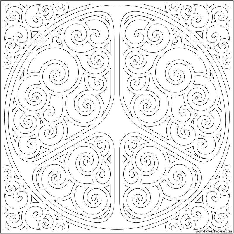 Swirly peace symbol for doodling or coloring- available in