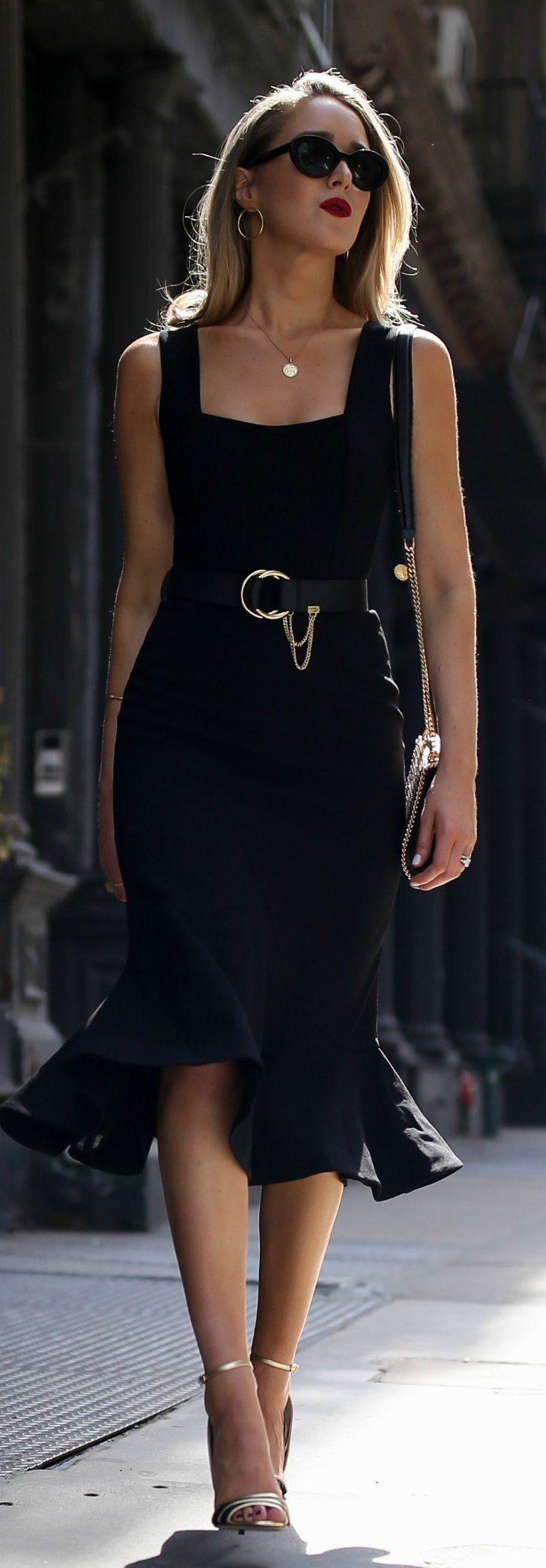 What To Wear On A Date Night Sleeveless Princess Hem Black Midi Dress Black And Gold Open Toe Pumps Black And Fashion Little Black Dress Black Midi Dress [ 2096 x 729 Pixel ]