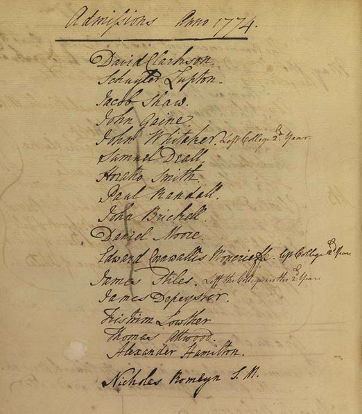Alexander Hamilton Columbia University Admissions List 1774