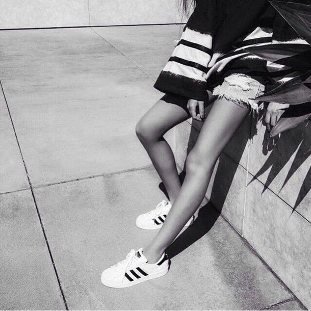 Shoes: adidas white black and white urban casual distressed denim shorts  bell sleeves bag swag