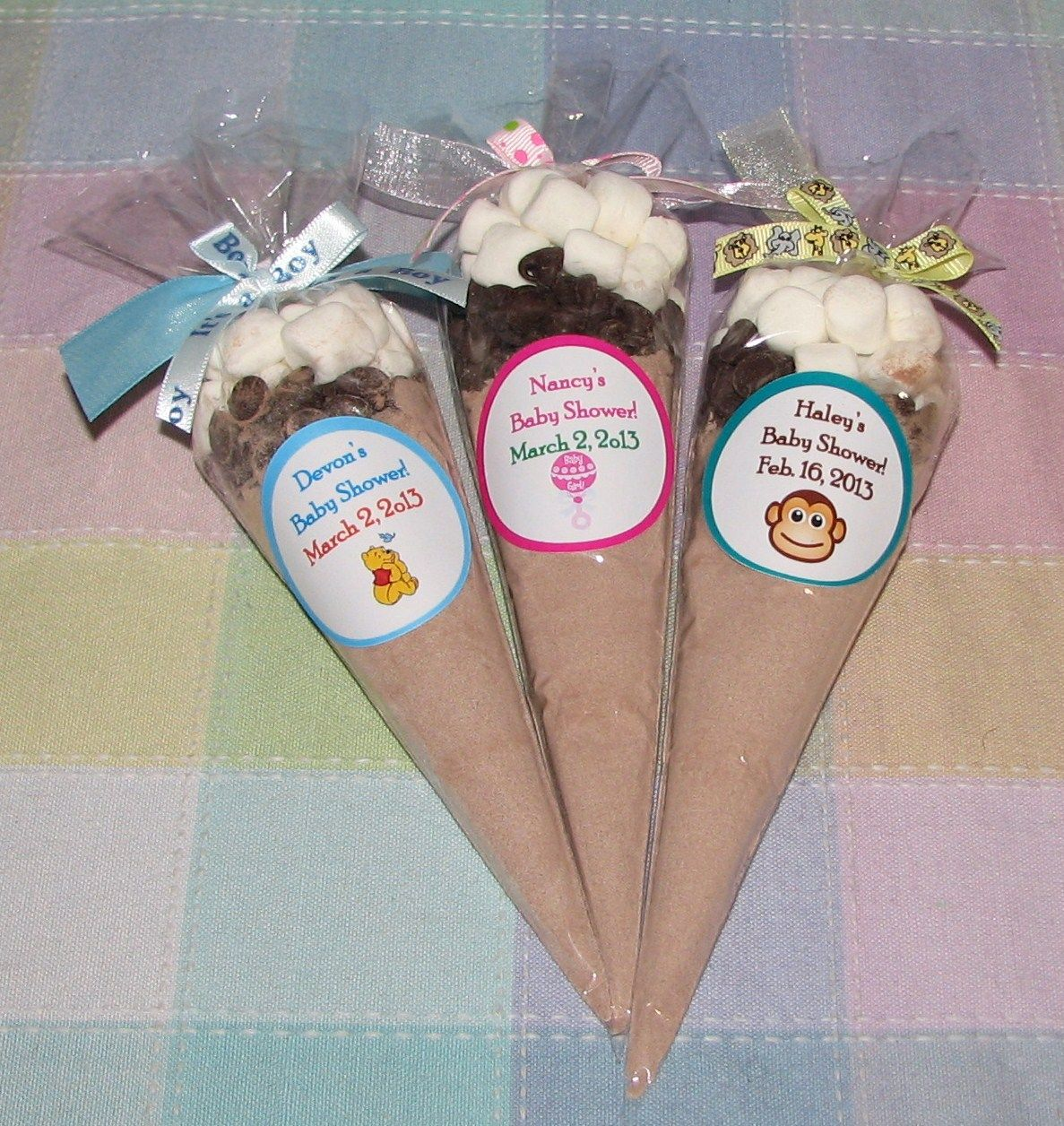 Another Good Idea For Winter Baby Shower Favors  Hot Chocolate DIY Favors   We Can Design The Sticker And Ribbons To Fit The Theme