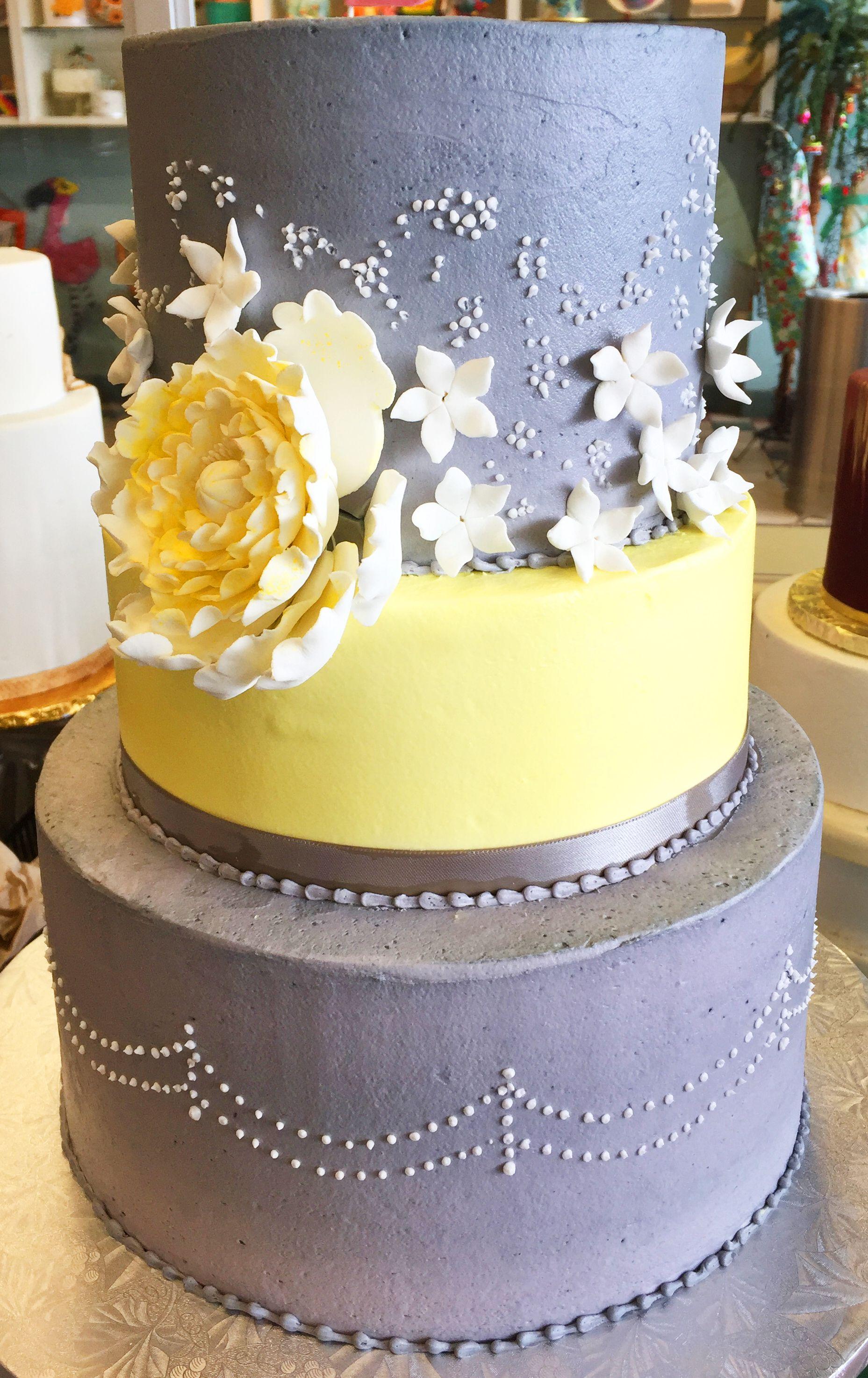Yellow and gray floral wedding cake - Cake # 150 | Wedding Cakes ...