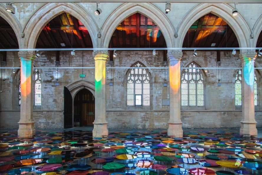 700 colorful mirrors bathe a 19th-century cathedral in gorgeous rainbow light #lightartinstallation