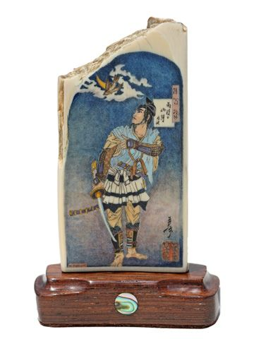 """""""Mountain Moon After Rain"""" Color scrimshaw on ancient mammoth ivory by Matt Stothart. This is Number 9 in the series """"One Hundred Aspects of the Moon"""" by Tsukioka Yoshitoshi printed in 1885. It depicts Soga Gono Tokimune as he contemplates a cuckoo in flight across the moon before he and his brother take revenge on his father's killer. The cuckoo is a symbol for the transience of life. Its song thought to call spirits to the next world. Price: $1,250.00 -- on ScrimshawGallery.com #scrimshaw"""