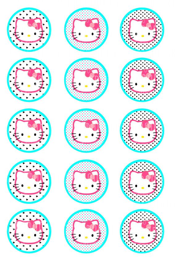 HELLO KITTY glam1 Inch Bottle Cap Images4x6 sheet by ceremoniaGlam ...