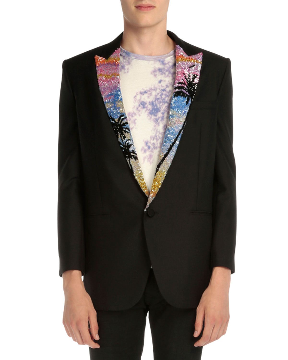 Blazer with Tropical-Sequin Lapel Black | *Outerwear > Coats
