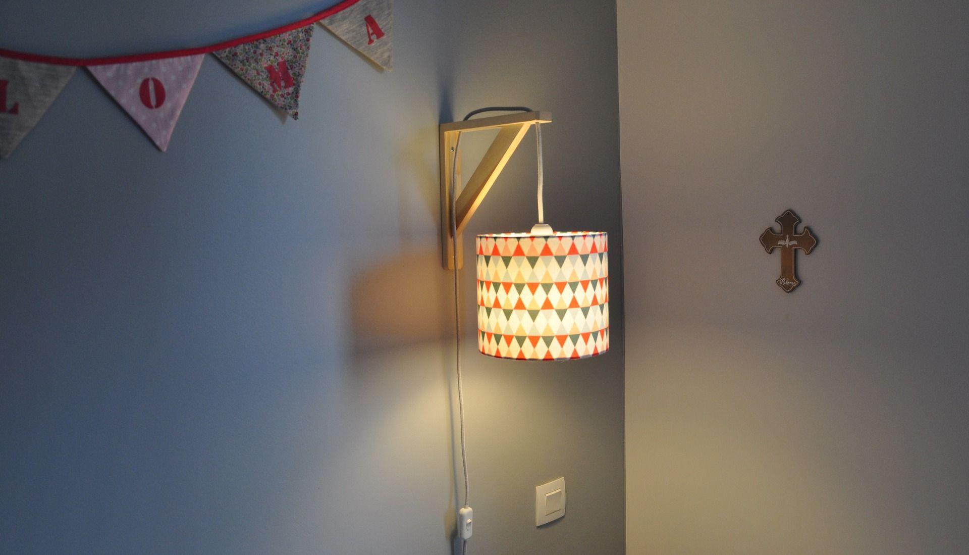 Lampe équerre - applique murale - tons corail, bleu gris | chambre ...