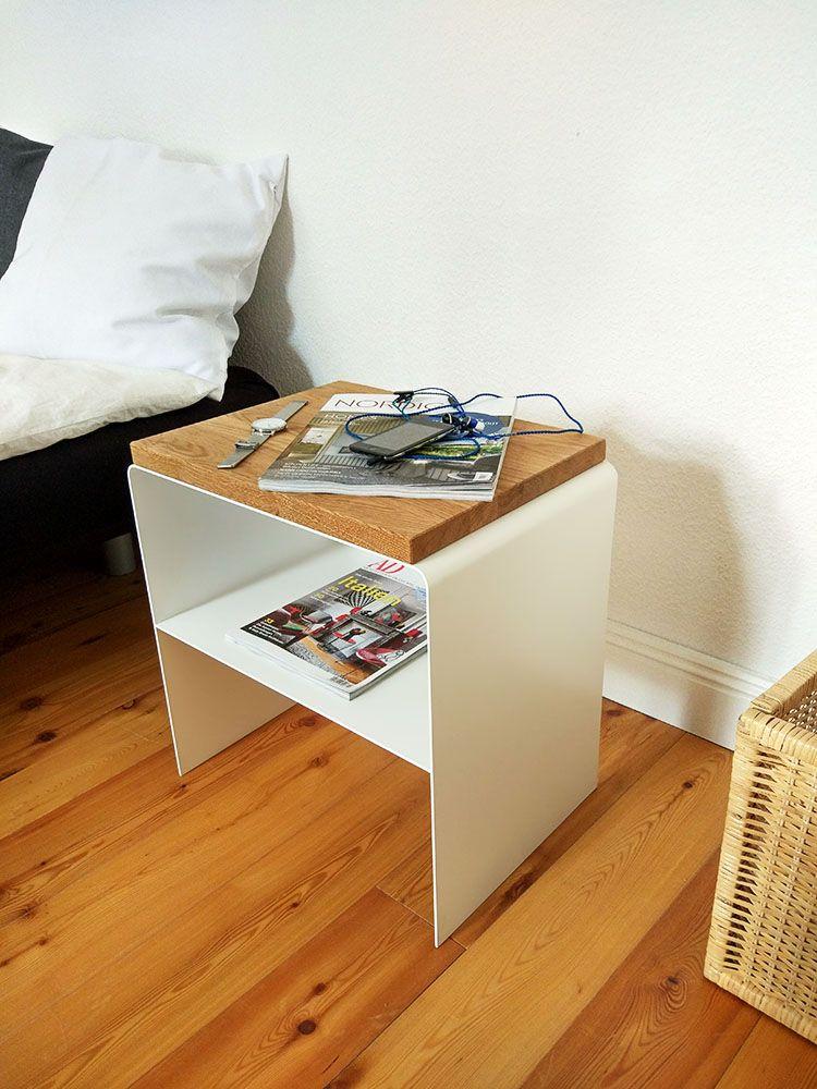 Nachttisch weiß eiche metall holz modern schwarz the classic | Stahlzart® Designmöbel für Ihr zuhause online bestellen
