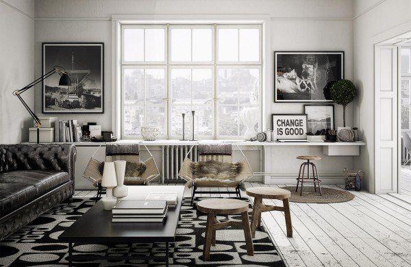 Scandinavian Living Room Design Ideas Chesterfield Sofa Wood Stools Wood Floor Living Room Loft Living Room Scandinavian Scandinavian Design Living Room