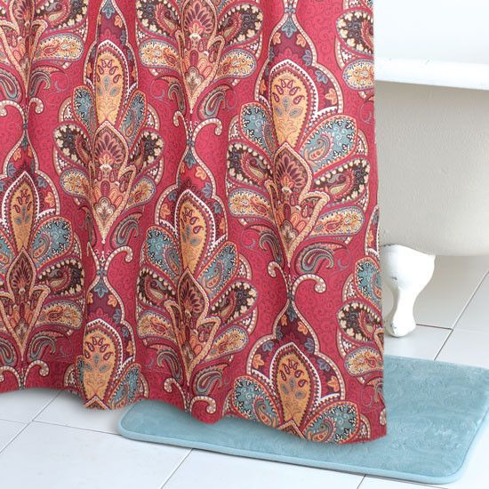 Complete Your Collection With Our Ainu0027t My First Rodeo Shower Curtain! A  Large Multicolor Paisley Print Embellishes This Burgundy Shower Curtain  With Rich ...