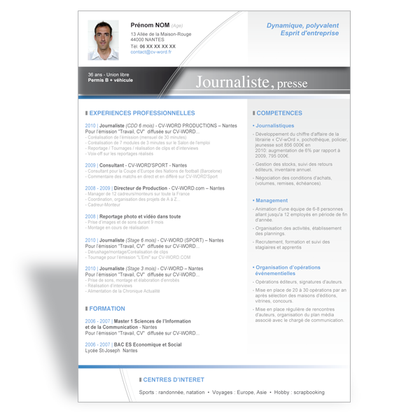 Tlcharger Modle Cv Word Journaliste Exemple Curriculum Vitae