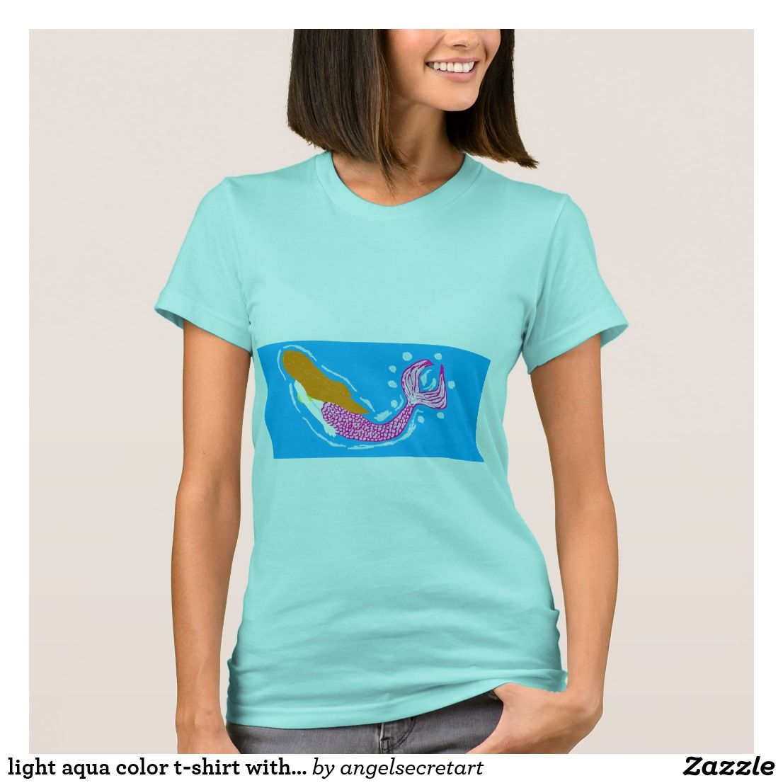 Light Aqua Color T Shirt With Mermaid Design Stuff To Buy