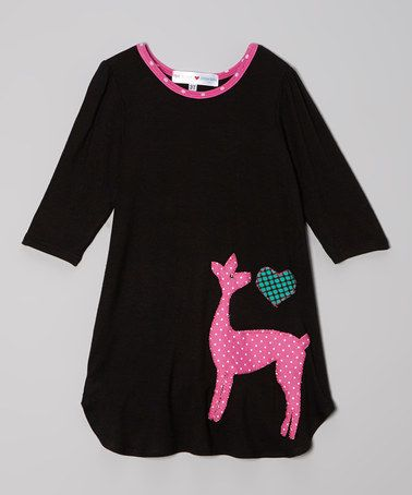 Take a look at this Black & Fuchsia Deer Dress - Toddler & Girls by little bits on #zulily today!