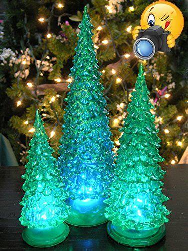 Lighted Christmas Tree - Set of 3 LED Green Acrylic Christmas Trees