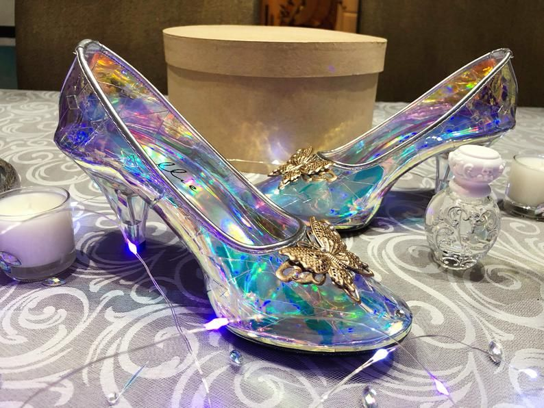 Cinderella Glass Transparent Slipper For Wedding New Cinderella Shoes Butterflies Cinderella Wedding Shoes Cinderella Shoes Glass Slipper