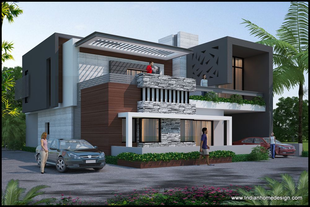 Modern exteriors home exterior design rendering ideas for Villa architecture design plans