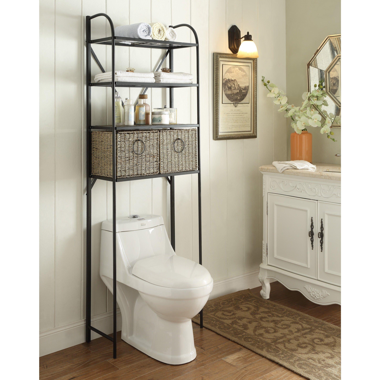 Bathroom Shelves Over Toilet, Black Bathroom Space Saver