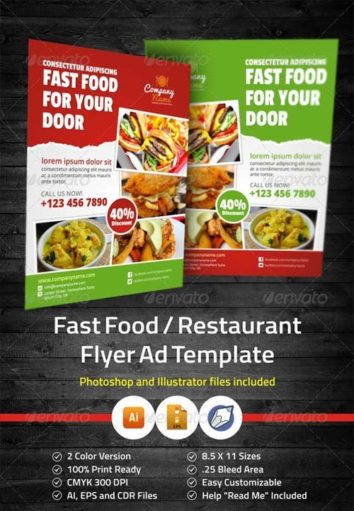 Graphicriver Fast Food  Restaurant Flyer Ad Template  Promotion