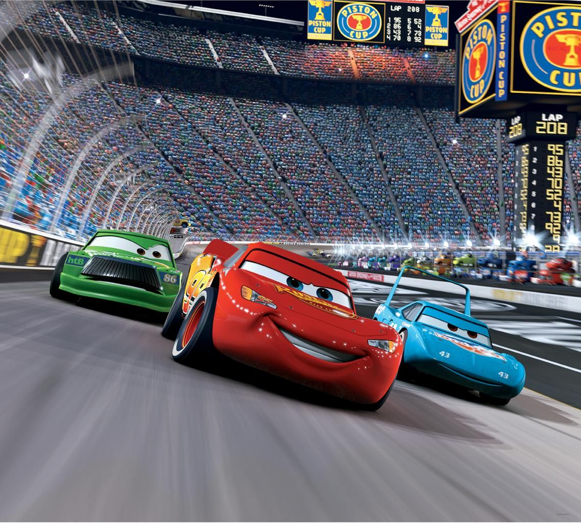 Cars Race Track Mini Mural Blue Mountain Wallcovering Cars Movie Disney Cars Cars Birthday