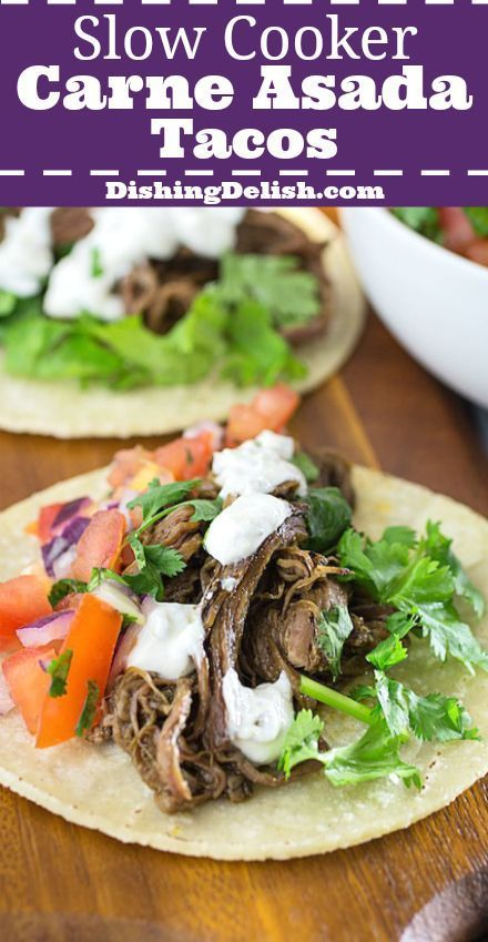 Slow Cooker Carne Asada Tacos are an easy weeknight dinner. Flank steak is marinated in citrus, cumin, and spices while it cooks low and slow all day. The meat is so tender that it's then shredded with a fork and served in a warm corn tortilla. #asadatacos Slow Cooker Carne Asada Tacos are an easy weeknight dinner. Flank steak is marinated in citrus, cumin, and spices while it cooks low and slow all day. The meat is so tender that it's then shredded with a fork and served in a warm corn tort #asadatacos