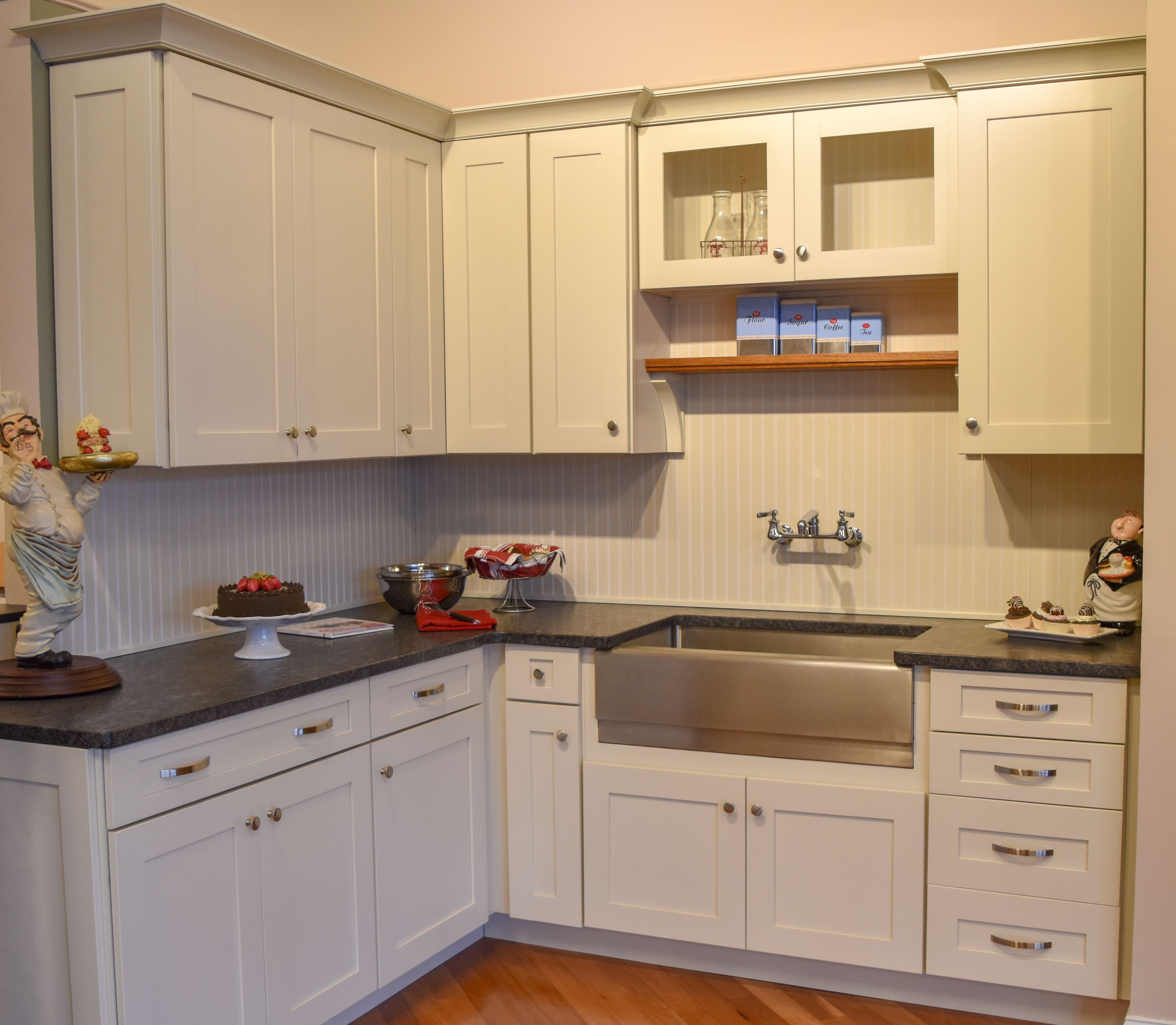 Marsh Furniture Summerfield Maple Cabinets In Linen Finish Leathered Granite Countertops Kitchen Remodel Kitchen Cabinets In Bathroom Kitchen Bathroom Remodel