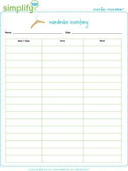 Wardrobe Inventory List Inventory Printable Diy Clothes