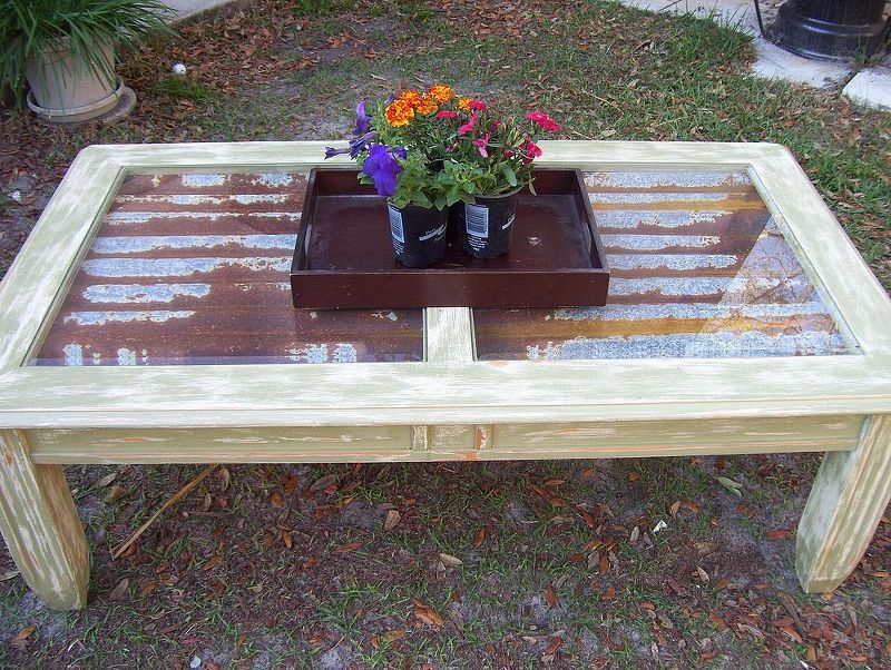garage sale coffee table makeover, painted furniture, rustic furniture, Completed Table with rusty metal and glass top