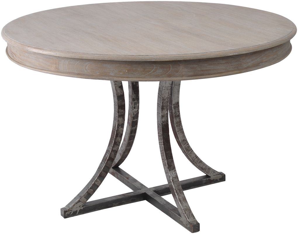 Marseille wood metal round dining table dining room for Round wood dining room table