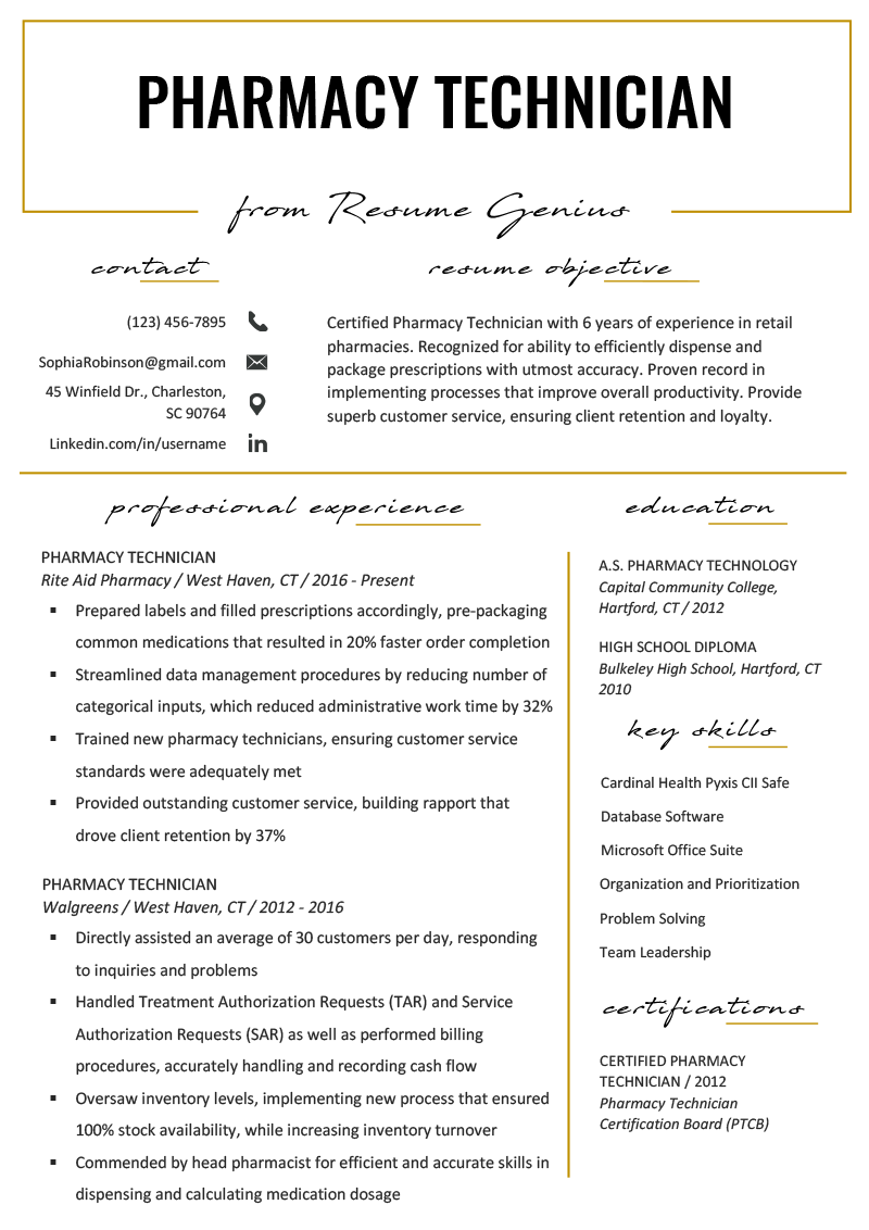 Pharmacy Technician Resume Example Template RG Resume