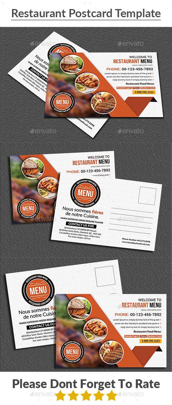 Restaurant Postcard Template Cards Invites Print