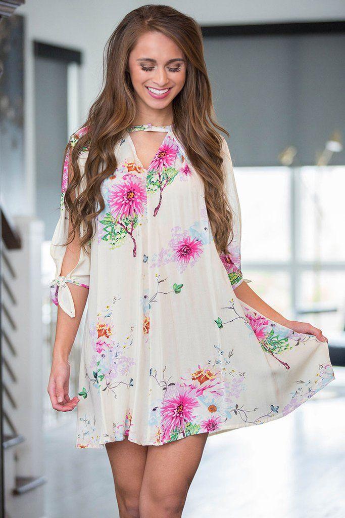 bd0a24c45339e Slit Sleeve White Background Floral Dress | Blouses | Dresses, Slit ...