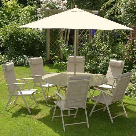 Tudor 6 Seater Round Garden Dining Furniture With Parasol Dunelm